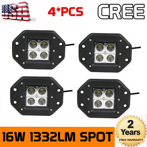 4pcs 24w Spot Led Cube Pods Work Light Flush Mount Offroad Lamp Truck Square