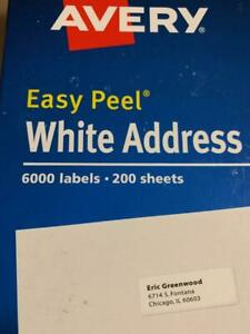 1 Box Of 6000 Avery 5160 address Mailing Shipping Labels 1 X 2 5 8 6 Thousand