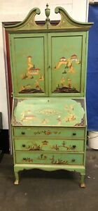 Chinese Japanese Oriental Asian Secretary Desk Drop Front Chinoiserie