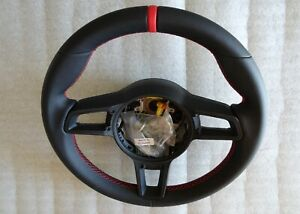 Porsche 991 Gt3 R Turbo Gt2 Rs Cayman Gt4 Stick Black Leather Red Steering Wheel