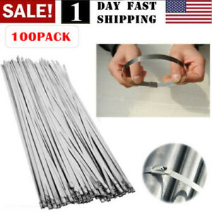 304 Stainless Steel 100 Pcs 12 Exhaust Wrap Coated Metal Locking Cable Zip Ties