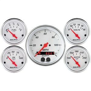 Autometer 1350 Arctic White 5 Gauge Set Fuel oil speedo volt water