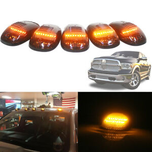 Smoked Cab Roof Marker Lights Amber Led Assemblies For Dodge Nissan Chevy Trucks