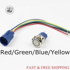 Momentary Push Button Switch 12v Stainless Steel Led Self reset Angeleye Led
