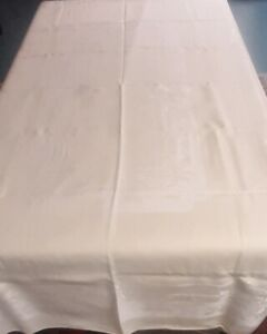Vtg Linen Damask Tablecloth Pale Yellow 56 By 84 Rectangular