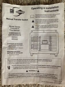 Cutler Hammer Briggs An Stratton Manual Transfer Switch Manual Model 695061 062