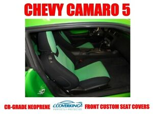 Synergy Green Genuine Neoprene Tailored Front Seat Covers For Chevy Camaro 5