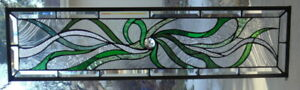 Abstract Stained Glass Transom Window Hanging Polished Brass Border
