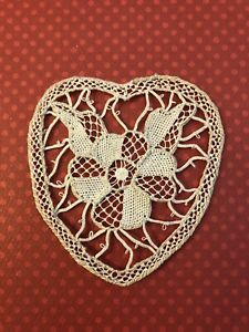 Old Antique Needle Lace 3 Inch Valentine Heart