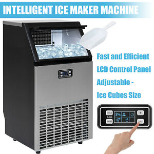 Commercial Ice Maker Built in 100lbs Ice Cube Machine Stainless Steel Restaurant