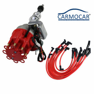 289 302 Red Cap Hei Distributor And 10 5mm Spark Plug Wires Fit Small Block Ford