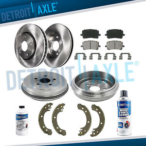 Front Rotors Rear Drums Brake Pads Shoes For 2003 2004 2008 Toyota Corolla