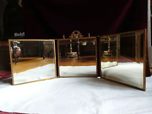 Antique Jennings Brothers Wall Or Table Dresser Vanity Shaving Tri Fold Mirror