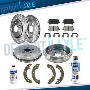 10pc Front Drilled Brake Rotors And Rear Drums For Toyota Corolla Brake Pads Kit