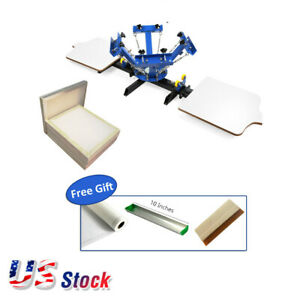 Usa 4 Color 2 Station Silk Screen Printing Press Aluminum Screen 110 White Mesh