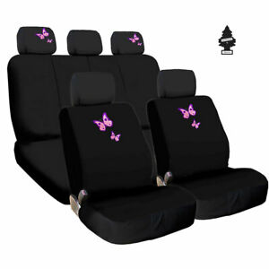 For Kia New Butterfly Black Fabric Car Truck Suv Seat Covers Gift Set