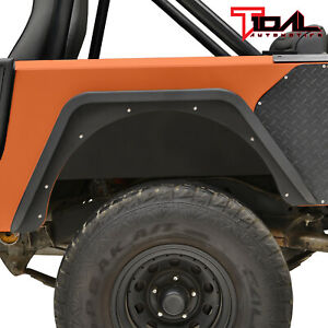 Tidal Offroad Steel Rear Fender Flare Armor Black Fit 76 86 Jeep Wrangler Cj7