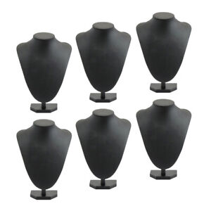 6 Pack Girl Black Necklace Display Rack Jewelry Display Bust Model 21x16cm