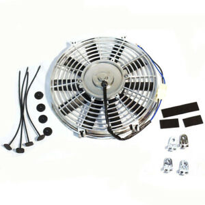 10 12v Chrome Straight Electric Radiator Motor Cooling Fan Pair Universal
