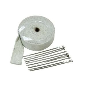 2 X 33 White Thermal Exhaust Header Pipe Heat Wrap Tape Ties Kit