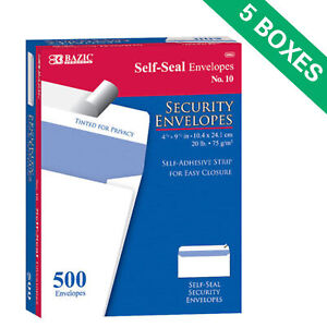 5boxes Self seal Security Envelopes 500 box Office Supply White 4 1 8 X 9 1 2