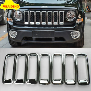 7x For Jeep Patriot 2011 2015 Chrome Grille Grill Kit Insert Vent Hole Frame