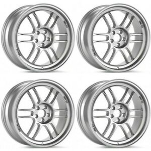 Enkei Rpf1 17x8 5x114 3 45mm Offset 73mm Bore Silver Wheel Set Of 4