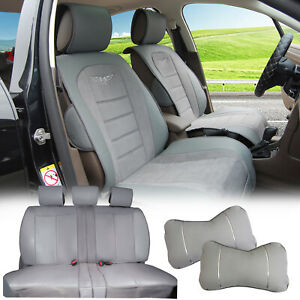 Pu Leather W Suede Full Car Seat Covers Cushion Front rear For Dodge A