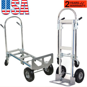 Promote 2in1 Aluminum Hand Truck 770lbs Convertible Foldable Dolly 4 wheel Cart