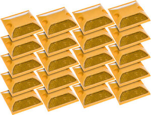 New Yellow Commercial Reflective Road Highway Pavement Marker Reflector 20 Pack