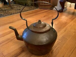 18th Century Goose Neck Form Copper Tea Kettle Dovetailed W Signed Handle Lg Sz