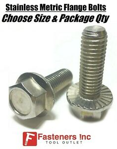 all Sizes Qty s Stainless Steel Metric Hex Cap Flange Bolts Screws Serrated