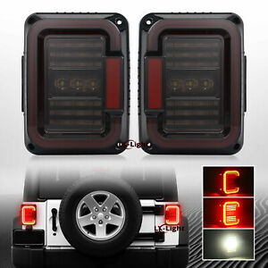 Emc 2x Led Tail Lights Brake Reverse Light Smoke Le For Jeep Wrangler Jk Jku 07