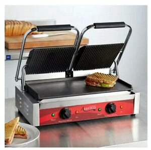 Double Commercial Panini Sandwich Grill Grooved Top And Smooth Bottom Plate