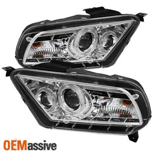 Fits 2010 2013 Mustang Projector Headlights W Daytime Led Halo Running Lights