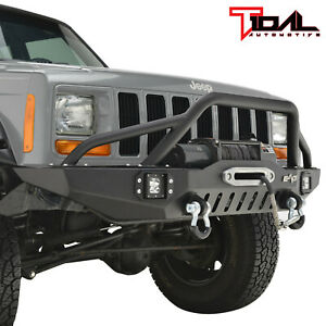 Fit For 84 01 Jeep Cherokee Xj Off road Front Bumper W led Lights
