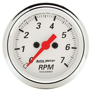 Autometer 1397 Arctic White Electric Tach 2 1 16 7000 Rpm