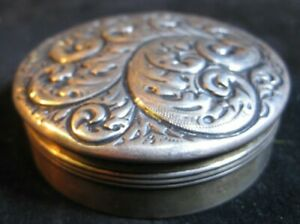 Rare Gorham Sterling Silver Repousse Snuff Box Round Box 1863 1890 Stunning