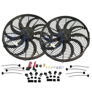 16 Electric Hd Curved Blade Reversible Cooling Fan 12v 3000cfm Thermostat Kit