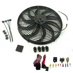 16 Heavy Duty Radiator Electric Fan 3000 Cfm Reversible Sbc Bbc 350 thermostat