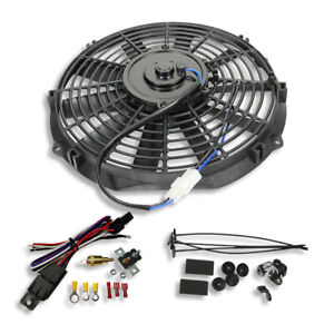 Electric 12 Straight Blade Reversible Cooling Fan 12v 1400cfm Thermostat Kit