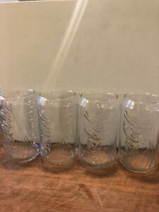 Coca Cola Clear Glass Shaped Like A Can - Raised Embossed Lettering Set Of 4