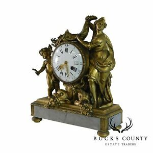 Antique French Mantel Clock White Marble Base With Bronze Ormolu Figures