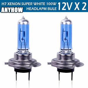 2pcs H7 Halogen Headlight 6000k Super White Dc 12v Light Bulbs 100w Fog Bulbs