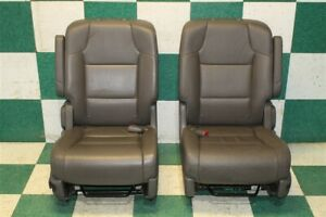 11 17 Odyssey Gray Leather Second Row Rear Captains Bucket Seats Pair Lh Rh Oem