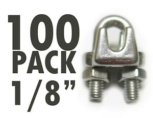 100 Pack 1 8 Stainless Steel Wire Rope Clips Clamps Marine Rigging Fencing