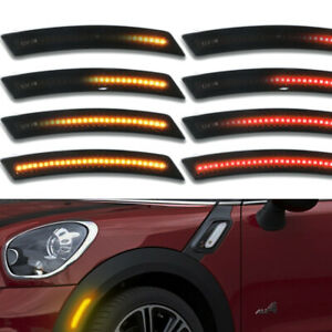 4pcs Sequential For 07 13 14 Mini Cooper Smoked Amber red Led Side Marker Lights
