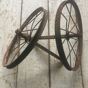 Vintage Lot 2 Metal Spoke Wheels Carriage Buggy Soap Box Derby Metal Wheels