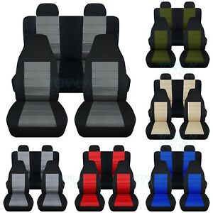 02 07 Jeep Liberty Kj 2 tone Seat Covers W Separate molded Headrests Front Rear
