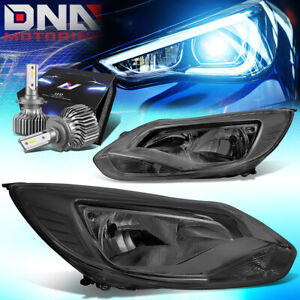 For 2012 2014 Ford Focus Mk3 Turn Signal Headlight W led Kit Slim Style Smoked